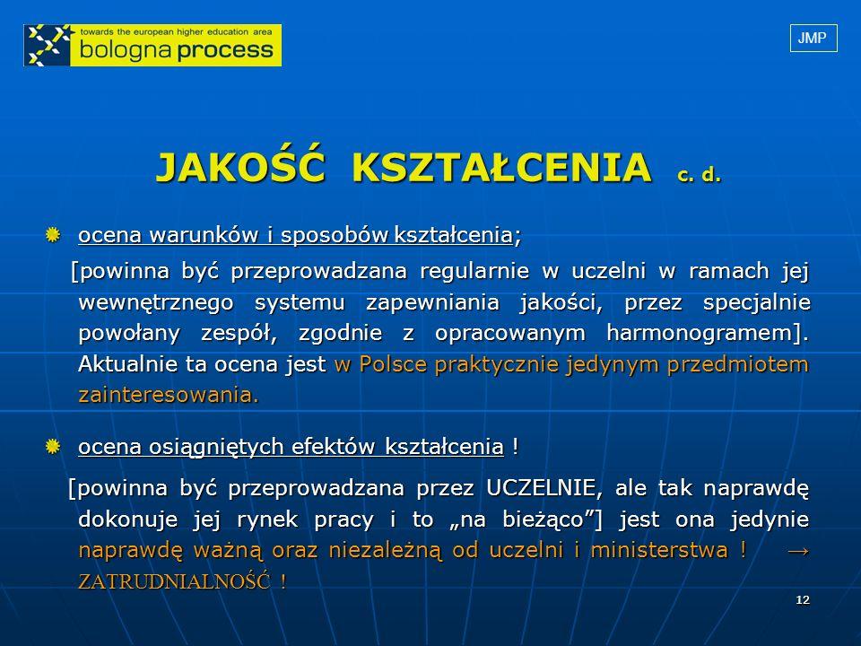 1212 JAKOŚĆ KSZTAŁCENIA c. d. ocena warunków i sposobów kształcenia; [powinna być przeprowadzana regularnie w uczelni w ramach jej wewnętrznego system