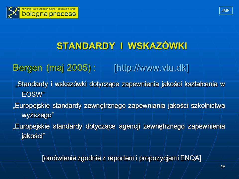 1414 STANDARDY I WSKAZÓWKI STANDARDY I WSKAZÓWKI Bergen (maj 2005) : [http://www.vtu.dk] Standardy i wskazówki dotyczące zapewnienia jakości kształcen