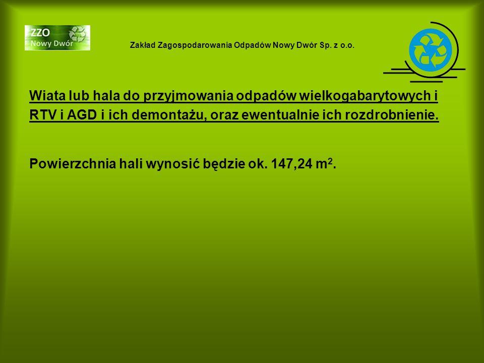 Zakład Zagospodarowania Odpadów Nowy Dwór Sp. z o.o. Wiata lub hala do przyjmowania odpadów wielkogabarytowych i RTV i AGD i ich demontażu, oraz ewent