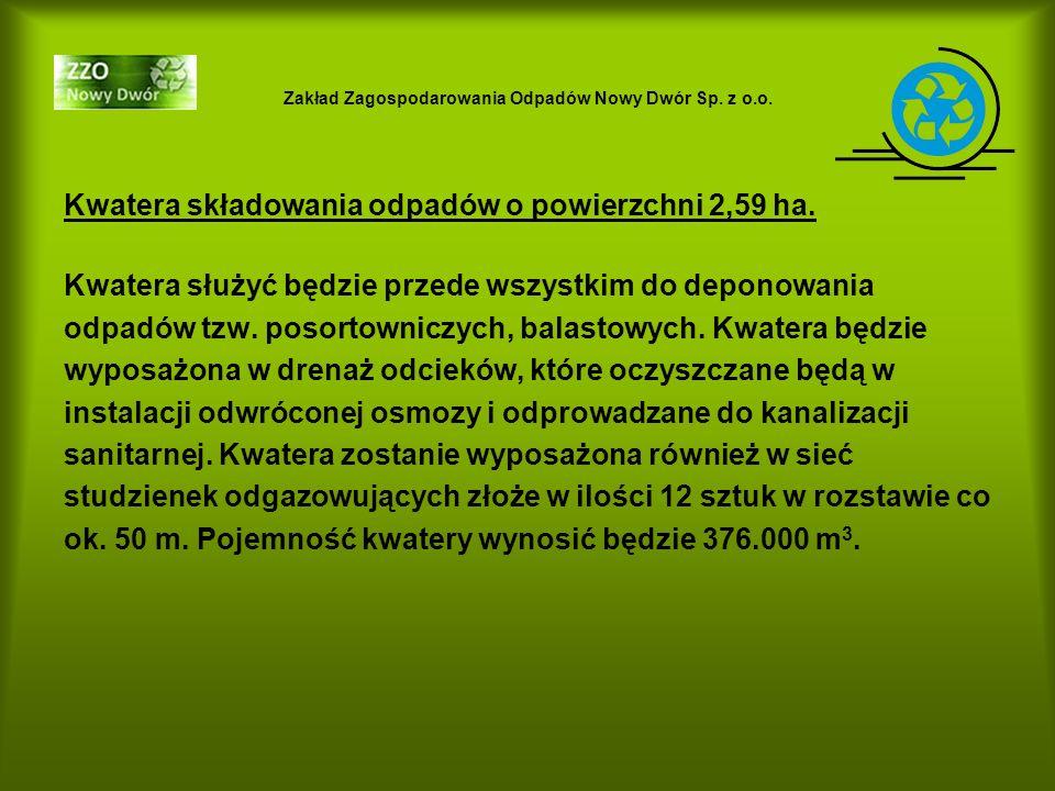 Zakład Zagospodarowania Odpadów Nowy Dwór Sp. z o.o. Kwatera składowania odpadów o powierzchni 2,59 ha. Kwatera służyć będzie przede wszystkim do depo