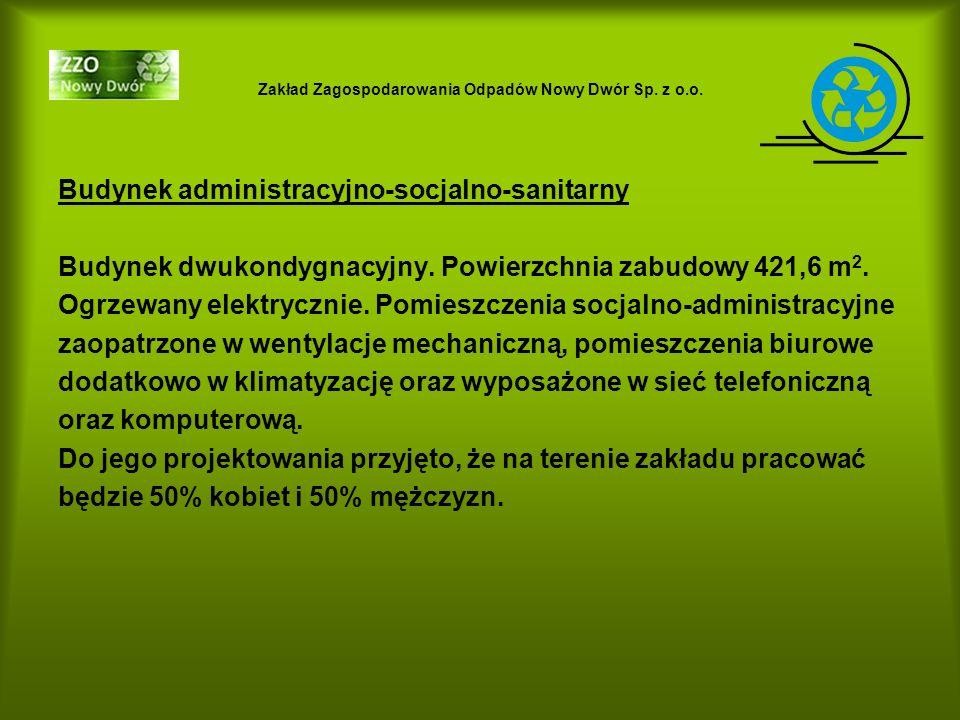 Zakład Zagospodarowania Odpadów Nowy Dwór Sp. z o.o. Budynek administracyjno-socjalno-sanitarny Budynek dwukondygnacyjny. Powierzchnia zabudowy 421,6
