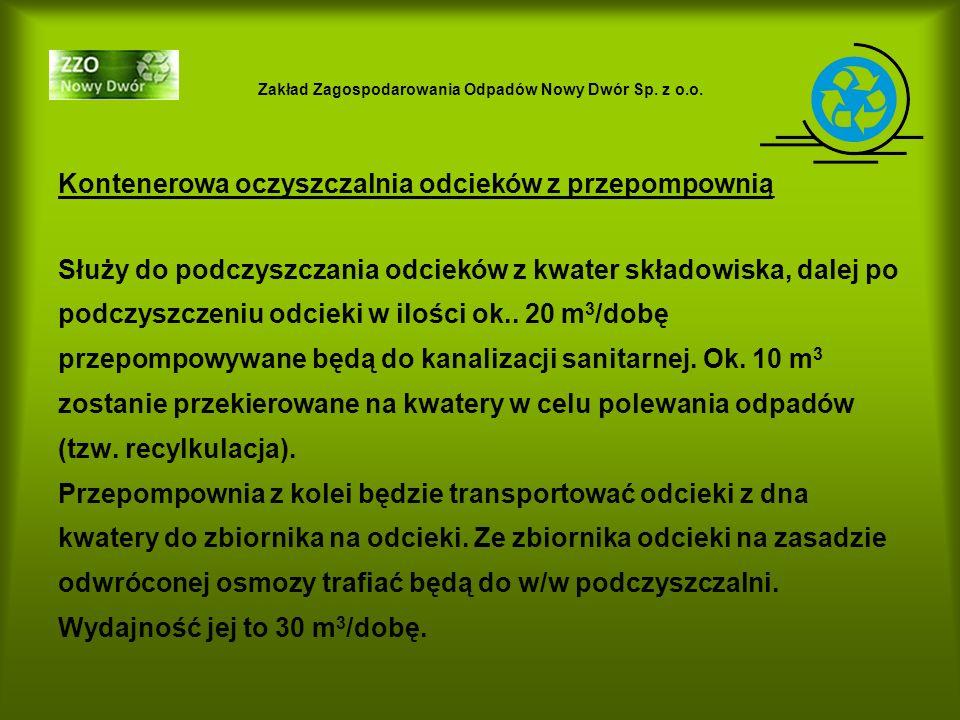 Zakład Zagospodarowania Odpadów Nowy Dwór Sp. z o.o. Kontenerowa oczyszczalnia odcieków z przepompownią Służy do podczyszczania odcieków z kwater skła