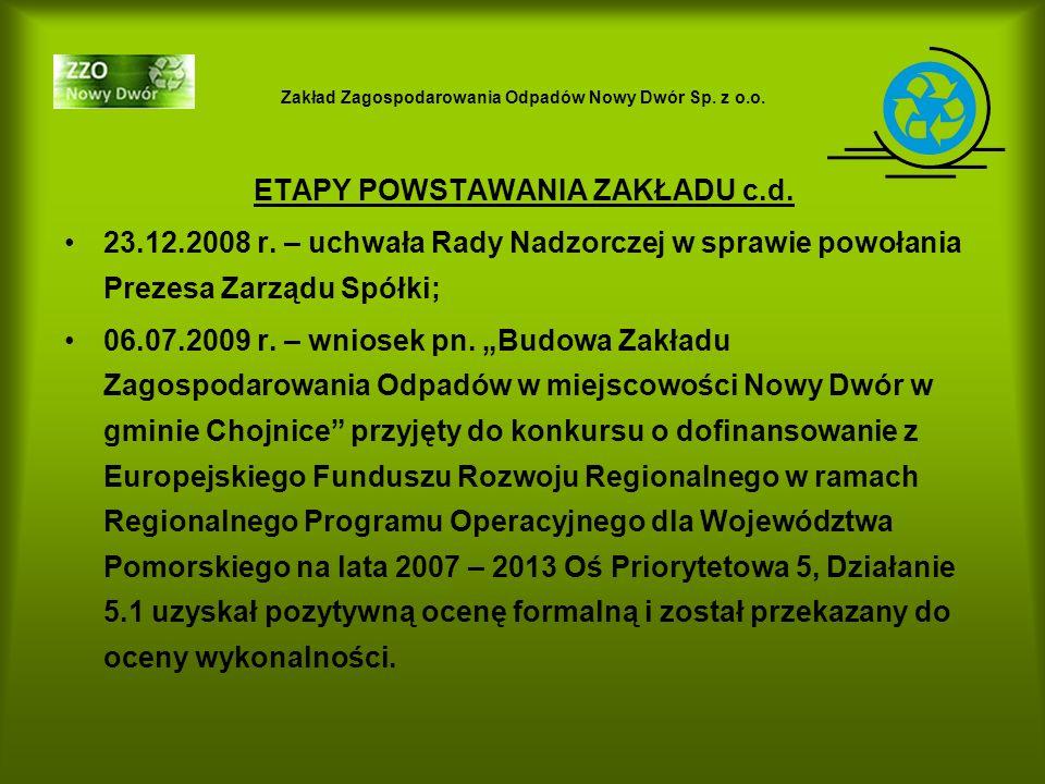Zakład Zagospodarowania Odpadów Nowy Dwór Sp. z o.o. ETAPY POWSTAWANIA ZAKŁADU c.d. 23.12.2008 r. – uchwała Rady Nadzorczej w sprawie powołania Prezes