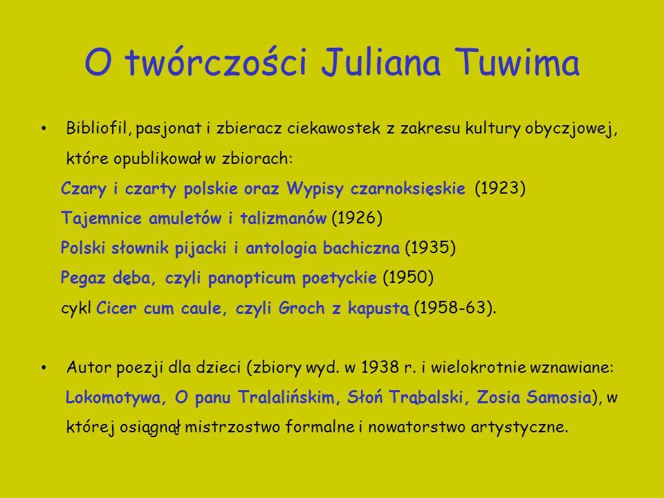 O twórczości Juliana Tuwima Bibliofil, pasjonat i zbieracz ciekawostek z zakresu kultury obyczjowej, które opublikował w zbiorach: Czary i czarty pols