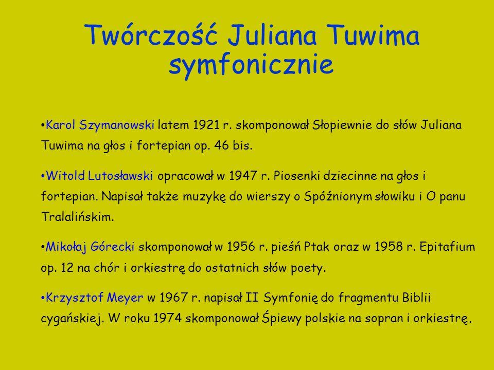 Twórczość Juliana Tuwima symfonicznie Karol Szymanowski latem 1921 r. skomponował Słopiewnie do słów Juliana Tuwima na głos i fortepian op. 46 bis. Wi