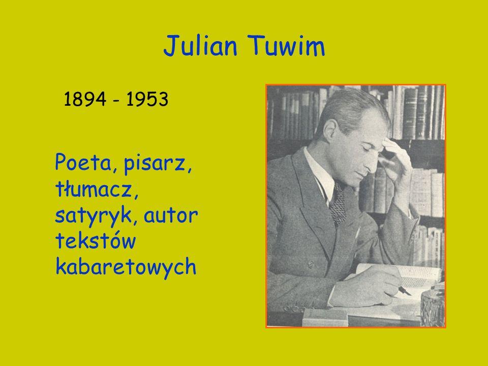 Julian Tuwim 1894 - 1953 Poeta, pisarz, tłumacz, satyryk, autor tekstów kabaretowych