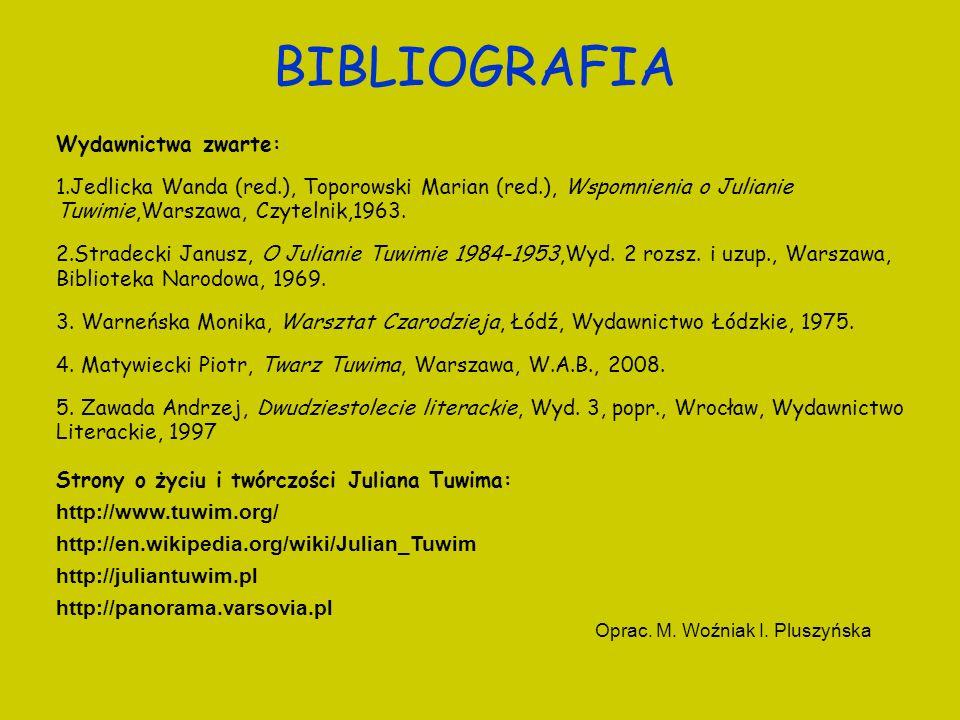 BIBLIOGRAFIA Wydawnictwa zwarte: 1.Jedlicka Wanda (red.), Toporowski Marian (red.), Wspomnienia o Julianie Tuwimie,Warszawa, Czytelnik,1963. 2.Stradec