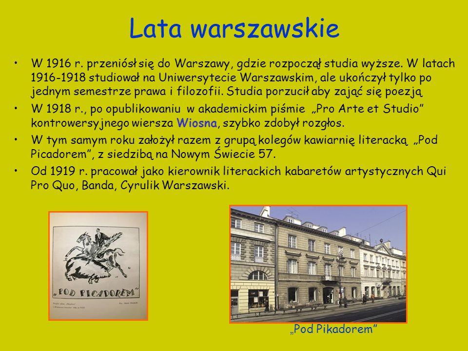 Lata warszawskie W 1916 r. przeniósł się do Warszawy, gdzie rozpoczął studia wyższe. W latach 1916-1918 studiował na Uniwersytecie Warszawskim, ale uk