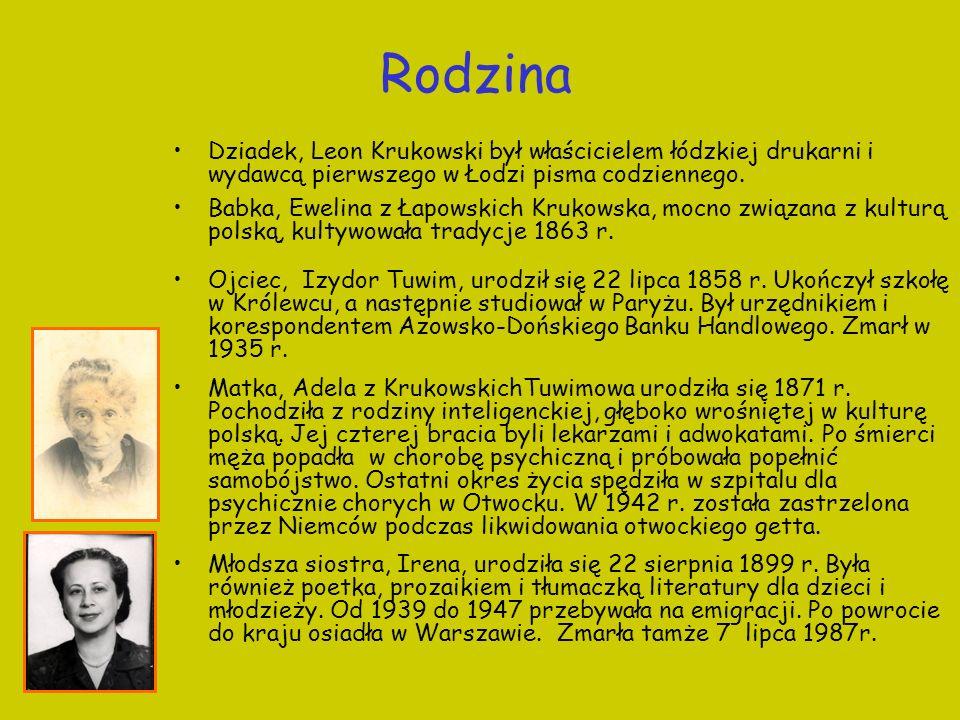 Rodzina Dziadek, Leon Krukowski był właścicielem łódzkiej drukarni i wydawcą pierwszego w Łodzi pisma codziennego. Babka, Ewelina z Łapowskich Krukows