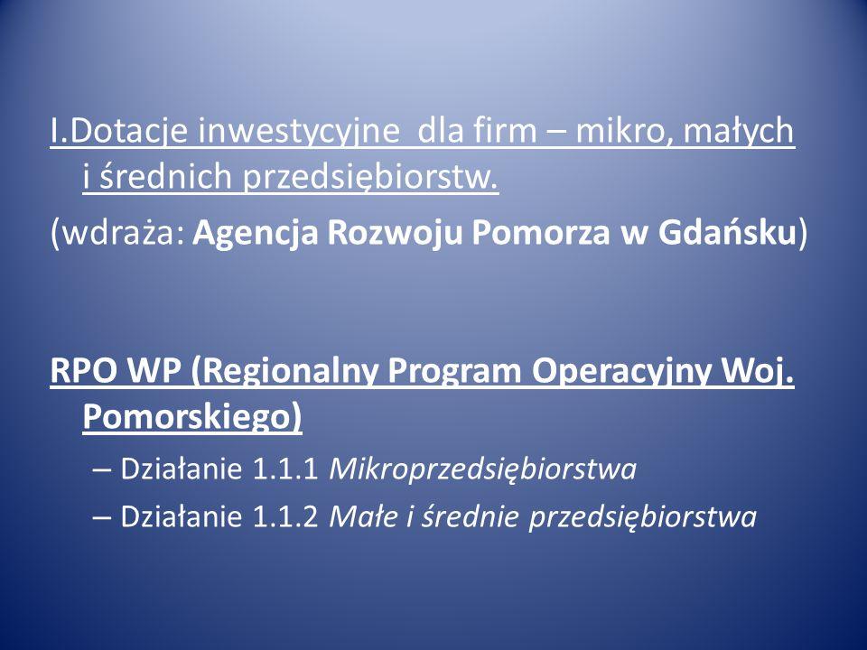 II.Dotacje dla rolników / firm na obszarach wiejskich (Oddział Regionalny Agencji Restrukturyzacji i Modernizacji Rolnictwa w Gdyni) PROW (Program Rozwoju Obszarów Wiejskich) Tworzenie i rozwój mikroprzedsiębiorstw Różnicowanie w kierunku działalności nierolniczej Modernizacja gospodarstw rolnych