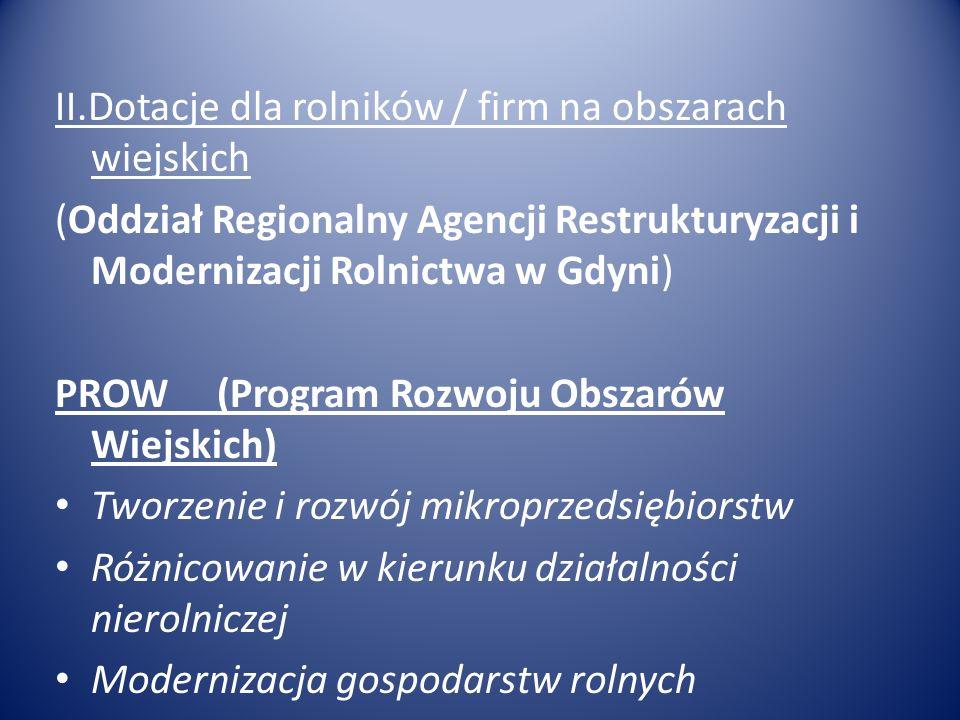 II.Dotacje dla rolników / firm na obszarach wiejskich (Oddział Regionalny Agencji Restrukturyzacji i Modernizacji Rolnictwa w Gdyni) PROW (Program Roz