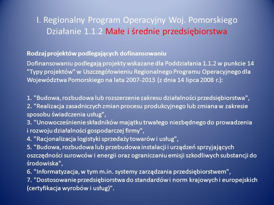 I. Regionalny Program Operacyjny Woj. Pomorskiego Działanie 1.1.2 Małe i średnie przedsiębiorstwa Rodzaj projektów podlegających dofinansowaniu Dofina