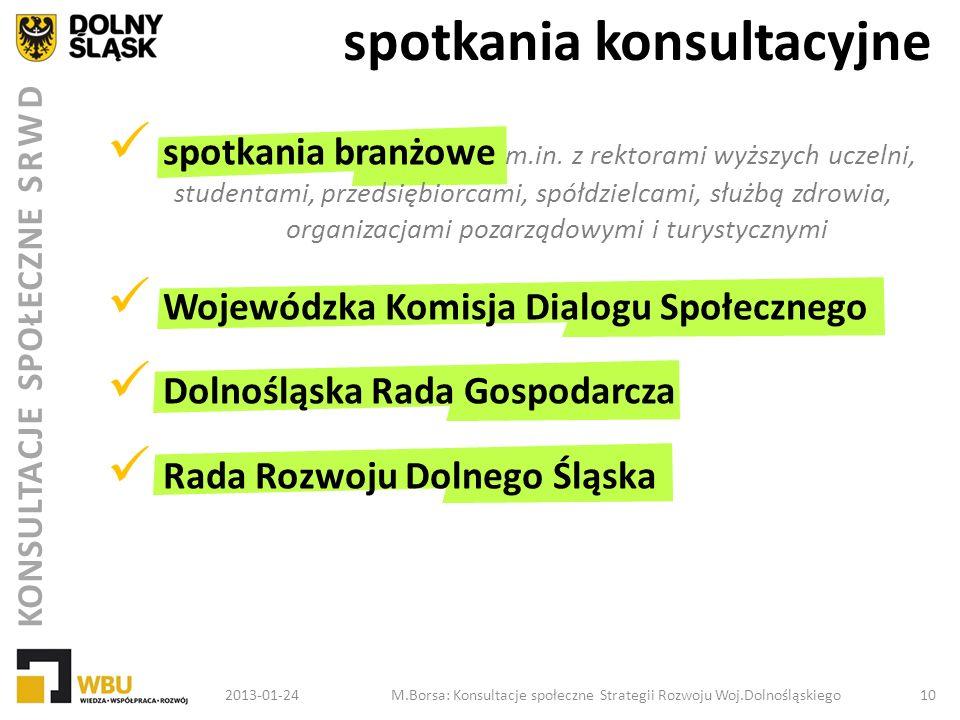 KONSULTACJE SPOŁECZNE SRWD spotkania konsultacyjne 2013-01-24M.Borsa: Konsultacje społeczne Strategii Rozwoju Woj.Dolnośląskiego 10 spotkania branżowe