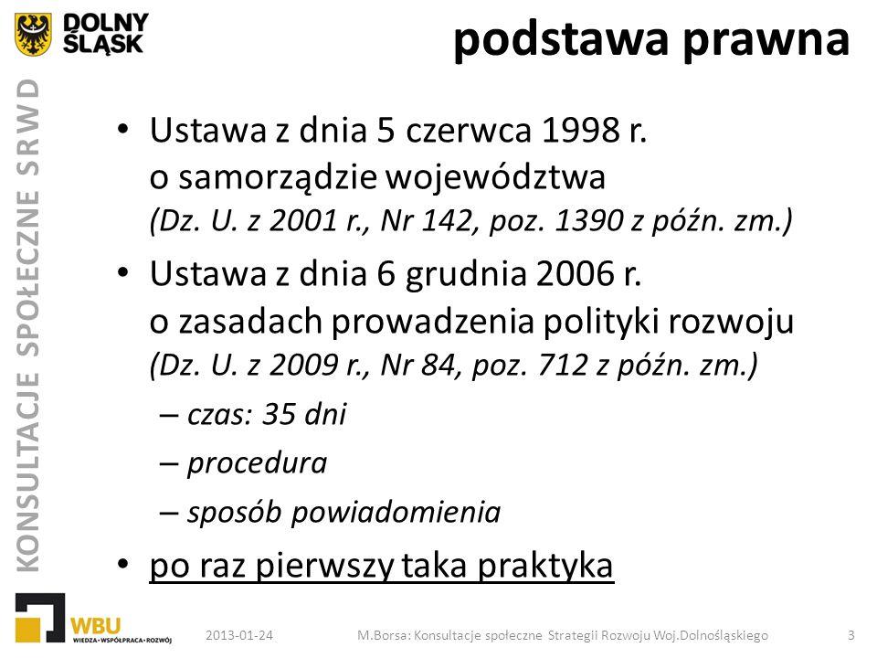KONSULTACJE SPOŁECZNE SRWD spotkania konsultacyjne LP.TERMINMIEJSCE 45.3 - 4 grudnia 2012 r.
