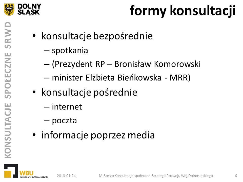 KONSULTACJE SPOŁECZNE SRWD formy konsultacji konsultacje bezpośrednie – spotkania – (Prezydent RP – Bronisław Komorowski – minister Elżbieta Bieńkowsk