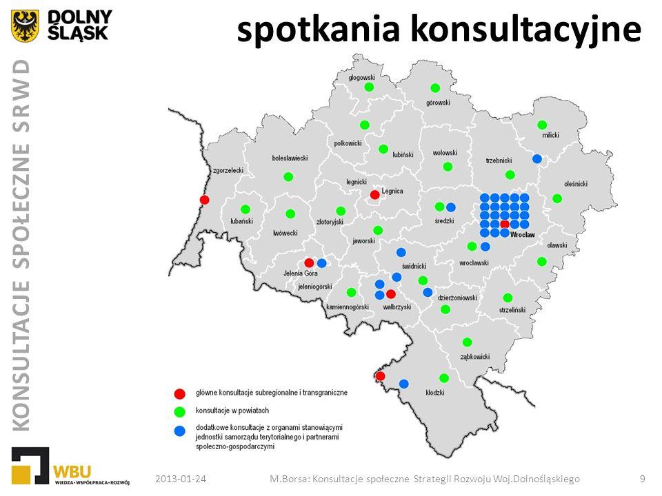 KONSULTACJE SPOŁECZNE SRWD spotkania konsultacyjne 2013-01-24M.Borsa: Konsultacje społeczne Strategii Rozwoju Woj.Dolnośląskiego 10 spotkania branżowe m.in.