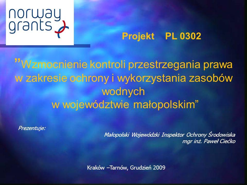 Wzmocnienie kontroli przestrzegania prawa w zakresie ochrony i wykorzystania zasobów wodnych w województwie małopolskim Projekt PL 0302 Prezentuje: Ma
