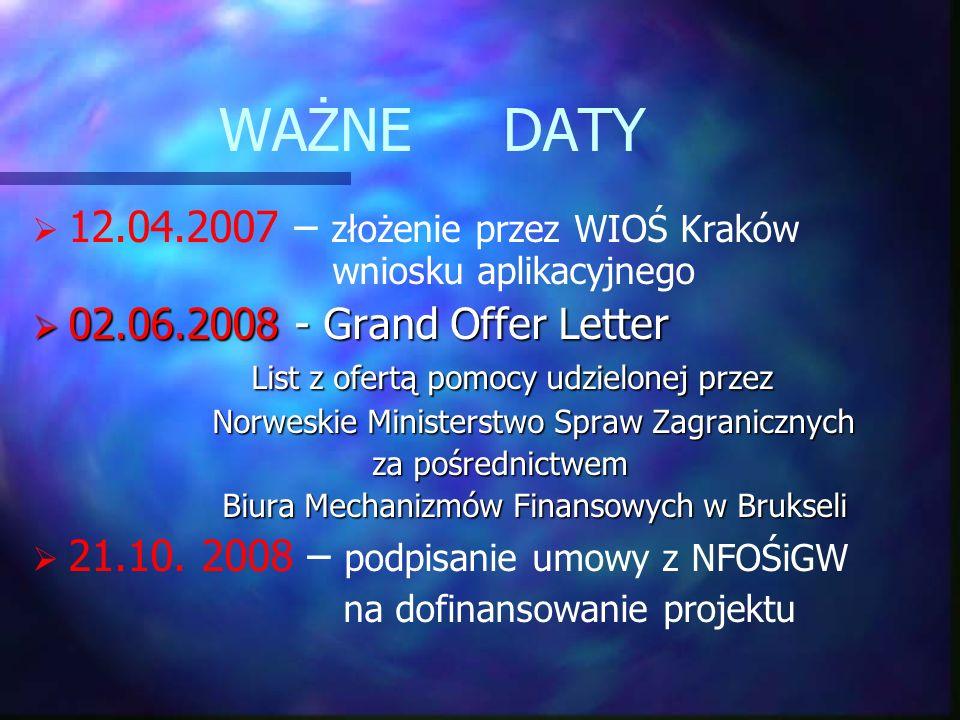 WAŻNE DATY 12.04.2007 – złożenie przez WIOŚ Kraków wniosku aplikacyjnego 02.06.2008 - Grand Offer Letter 02.06.2008 - Grand Offer Letter List z ofertą