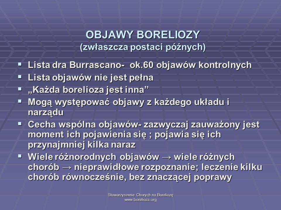 Stowarzyszenie Chorych na Boreliozę www.borelioza.org OBJAWY BORELIOZY (zwłaszcza postaci późnych) Lista dra Burrascano- ok.60 objawów kontrolnych Lis