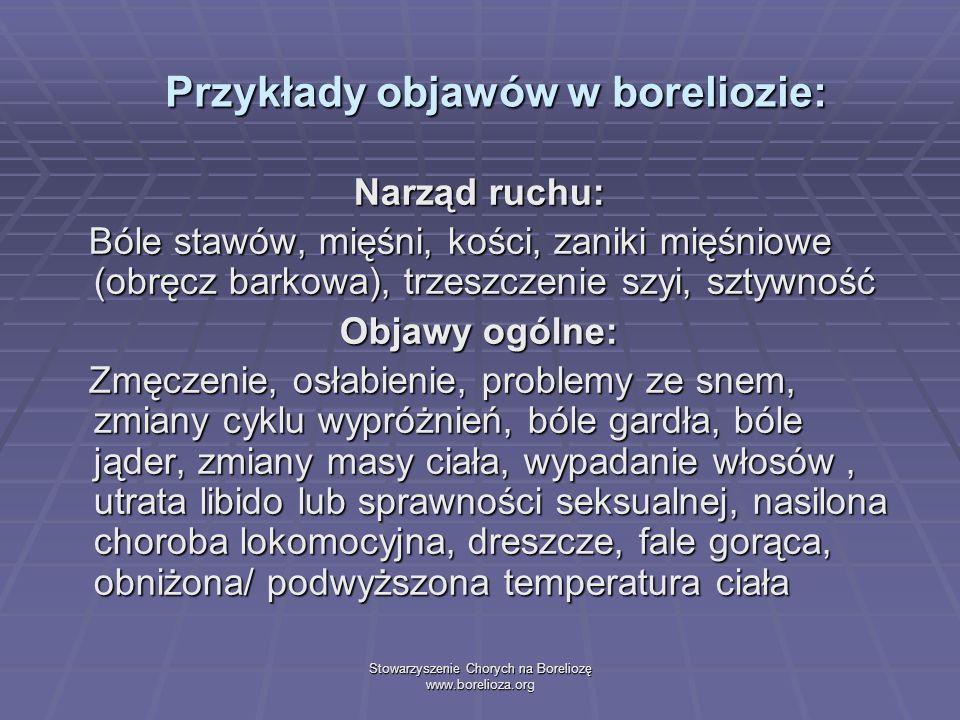 Stowarzyszenie Chorych na Boreliozę www.borelioza.org Przykłady objawów w boreliozie: Narząd ruchu: Bóle stawów, mięśni, kości, zaniki mięśniowe (obrę