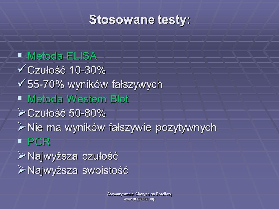 Stowarzyszenie Chorych na Boreliozę www.borelioza.org Stosowane testy: Metoda ELISA Metoda ELISA Czułość 10-30% Czułość 10-30% 55-70% wyników fałszywy