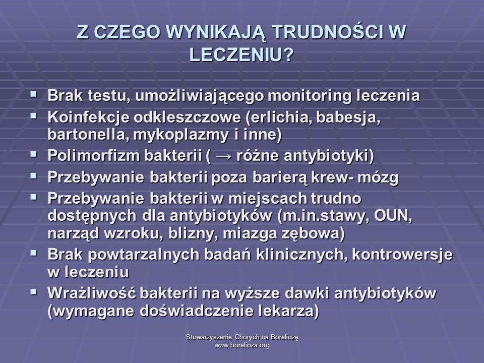 Stowarzyszenie Chorych na Boreliozę www.borelioza.org Z CZEGO WYNIKAJĄ TRUDNOŚCI W LECZENIU? Brak testu, umożliwiającego monitoring leczenia Brak test