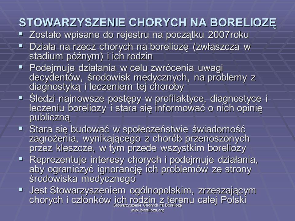 Stowarzyszenie Chorych na Boreliozę www.borelioza.org STOWARZYSZENIE CHORYCH NA BORELIOZĘ Zostało wpisane do rejestru na początku 2007roku Zostało wpi