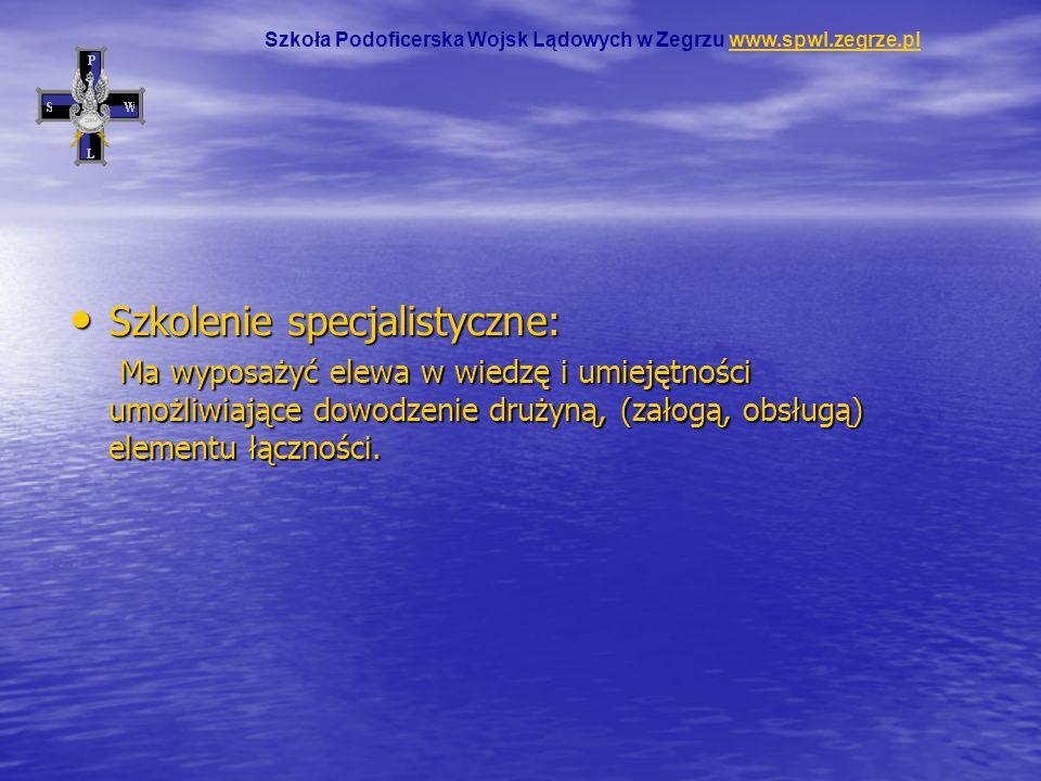 Szkolenie specjalistyczne: Szkolenie specjalistyczne: Ma wyposażyć elewa w wiedzę i umiejętności umożliwiające dowodzenie drużyną, (załogą, obsługą) e