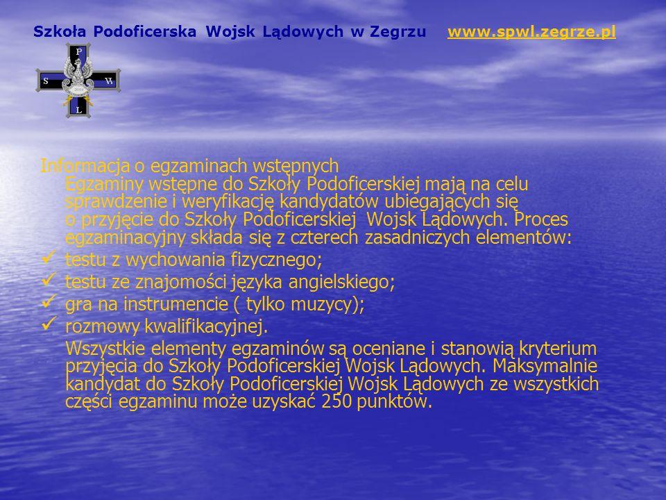 Adresy innych szkół podoficerskich Wojsk Lądowych: Szkoła Podoficerska Wojsk Lądowych we Wrocławiu ul.