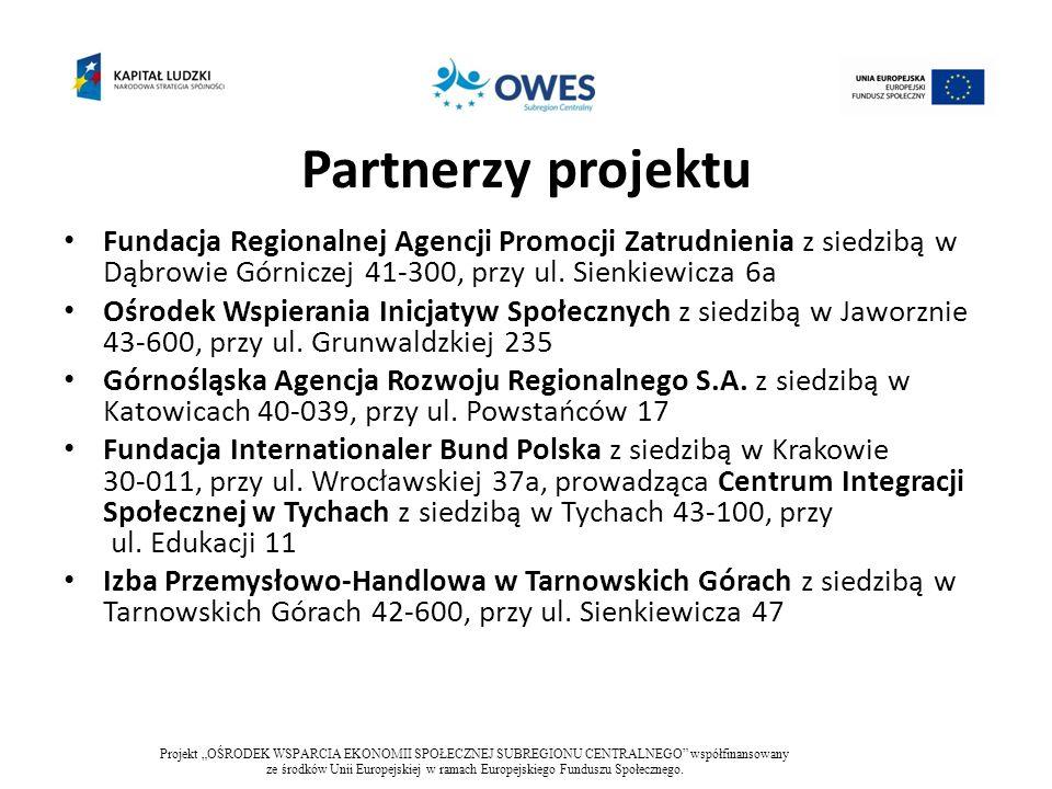 Cel główny projektu Wzmocnienie sektora ekonomii społecznej w subregionie centralnym województwa śląskiego przez zapewnienie kompleksowego wsparcia podmiotom ekonomii społecznej i osobom fizycznym z terenu subregionu centralnego do końca pierwszej połowy 2015r.