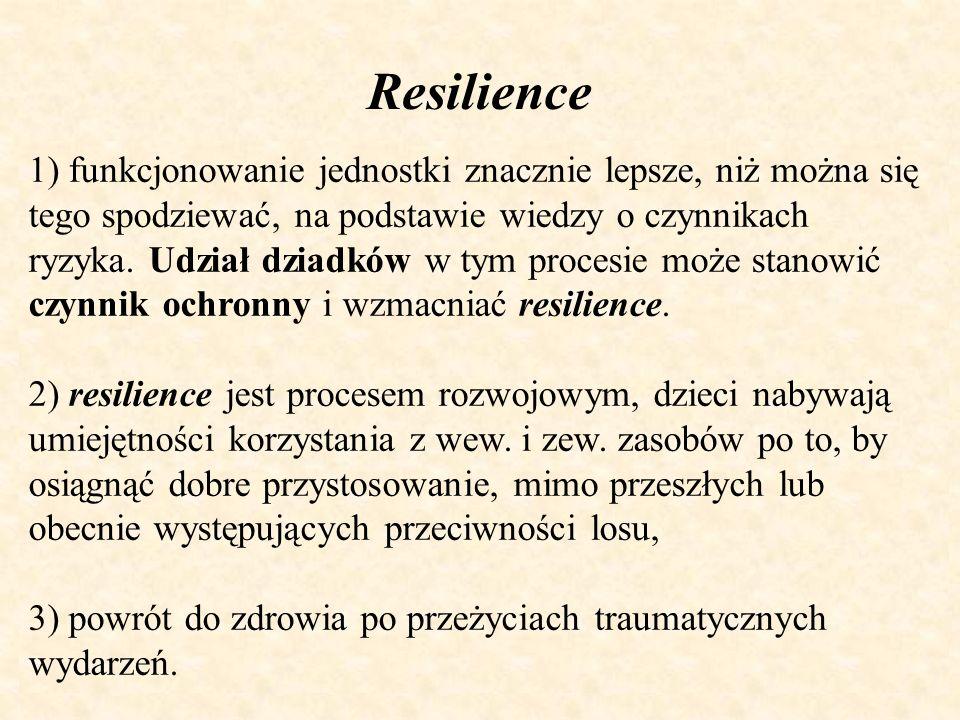 Resilience 1) funkcjonowanie jednostki znacznie lepsze, niż można się tego spodziewać, na podstawie wiedzy o czynnikach ryzyka. Udział dziadków w tym