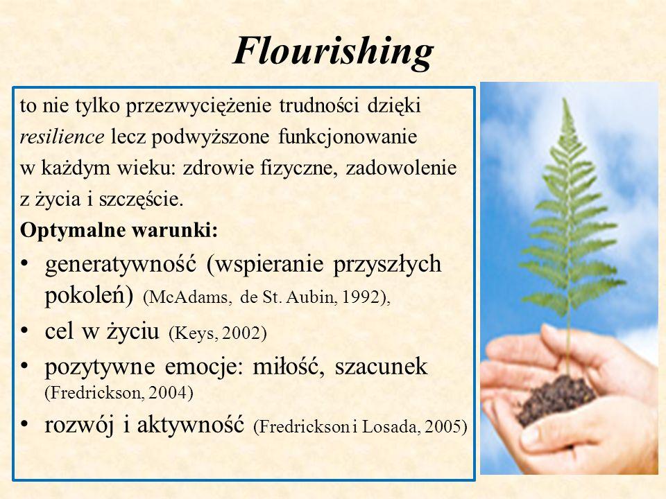 Flourishing to nie tylko przezwyciężenie trudności dzięki resilience lecz podwyższone funkcjonowanie w każdym wieku: zdrowie fizyczne, zadowolenie z ż