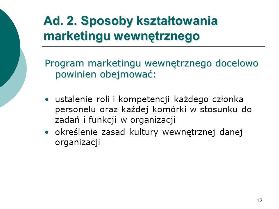 12 Ad. 2. Sposoby kształtowania marketingu wewnętrznego Program marketingu wewnętrznego docelowo powinien obejmować: ustalenie roli i kompetencji każd
