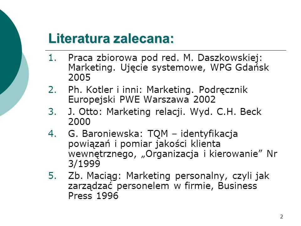 2 Literatura zalecana: 1.Praca zbiorowa pod red. M. Daszkowskiej: Marketing. Ujęcie systemowe, WPG Gdańsk 2005 2.Ph. Kotler i inni: Marketing. Podręcz