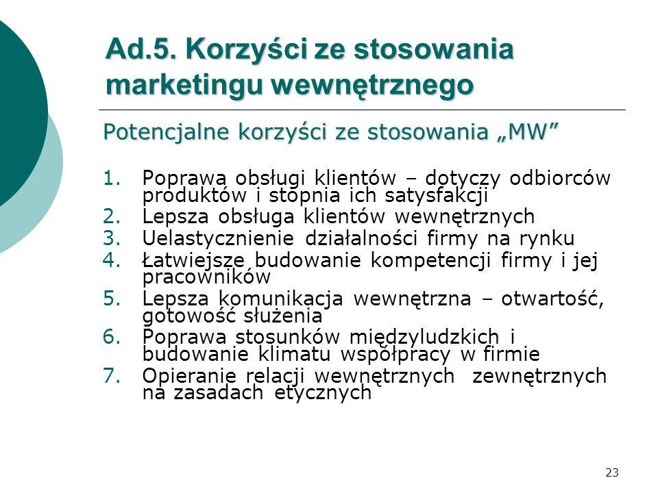 23 Ad.5. Korzyści ze stosowania marketingu wewnętrznego Potencjalne korzyści ze stosowania MW 1.Poprawa obsługi klientów – dotyczy odbiorców produktów