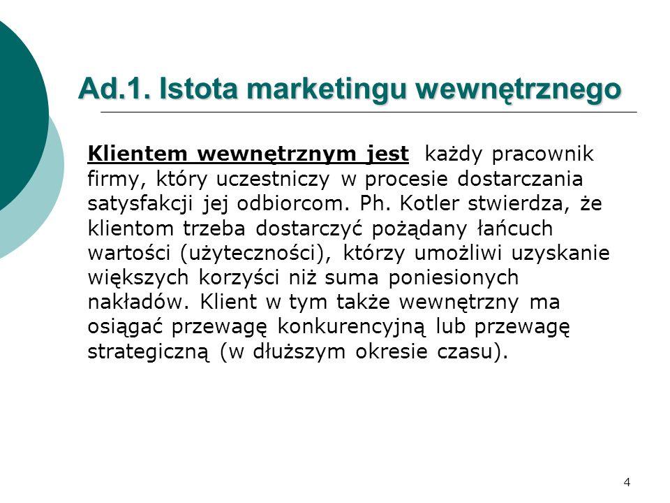 4 Ad.1. Istota marketingu wewnętrznego Klientem wewnętrznym jest każdy pracownik firmy, który uczestniczy w procesie dostarczania satysfakcji jej odbi