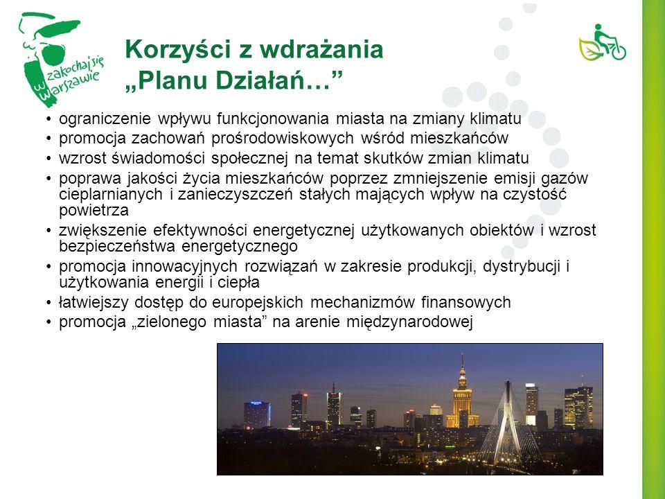 Korzyści z wdrażania Planu Działań… ograniczenie wpływu funkcjonowania miasta na zmiany klimatu promocja zachowań prośrodowiskowych wśród mieszkańców