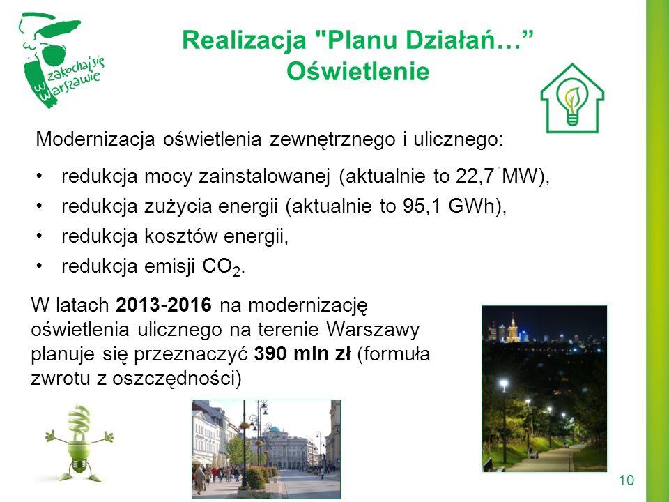 Modernizacja oświetlenia zewnętrznego i ulicznego: redukcja mocy zainstalowanej (aktualnie to 22,7 MW), redukcja zużycia energii (aktualnie to 95,1 GW