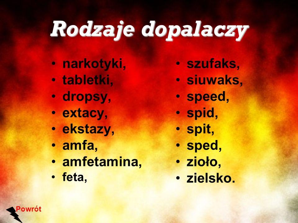 Rodzaje dopalaczy narkotyki, tabletki, dropsy, extacy, ekstazy, amfa, amfetamina, feta, Powrót szufaks, siuwaks, speed, spid, spit, sped, zioło, ziels