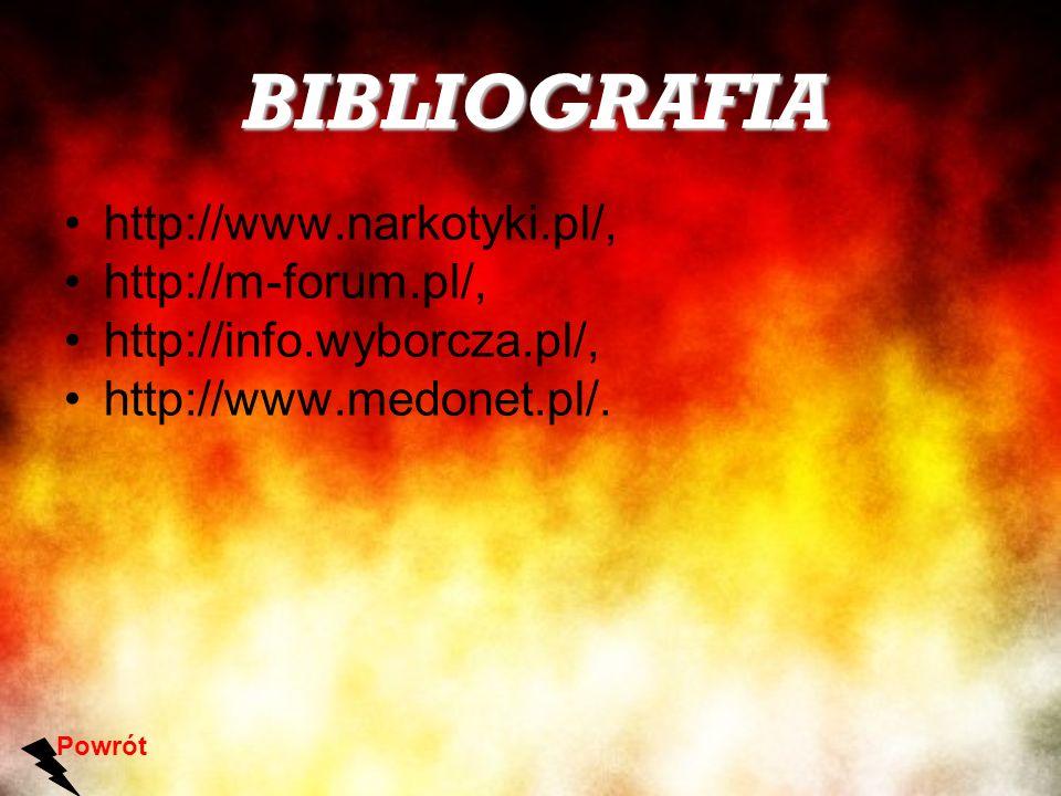 BIBLIOGRAFIA http://www.narkotyki.pl/, http://m-forum.pl/, http://info.wyborcza.pl/, http://www.medonet.pl/. Powrót