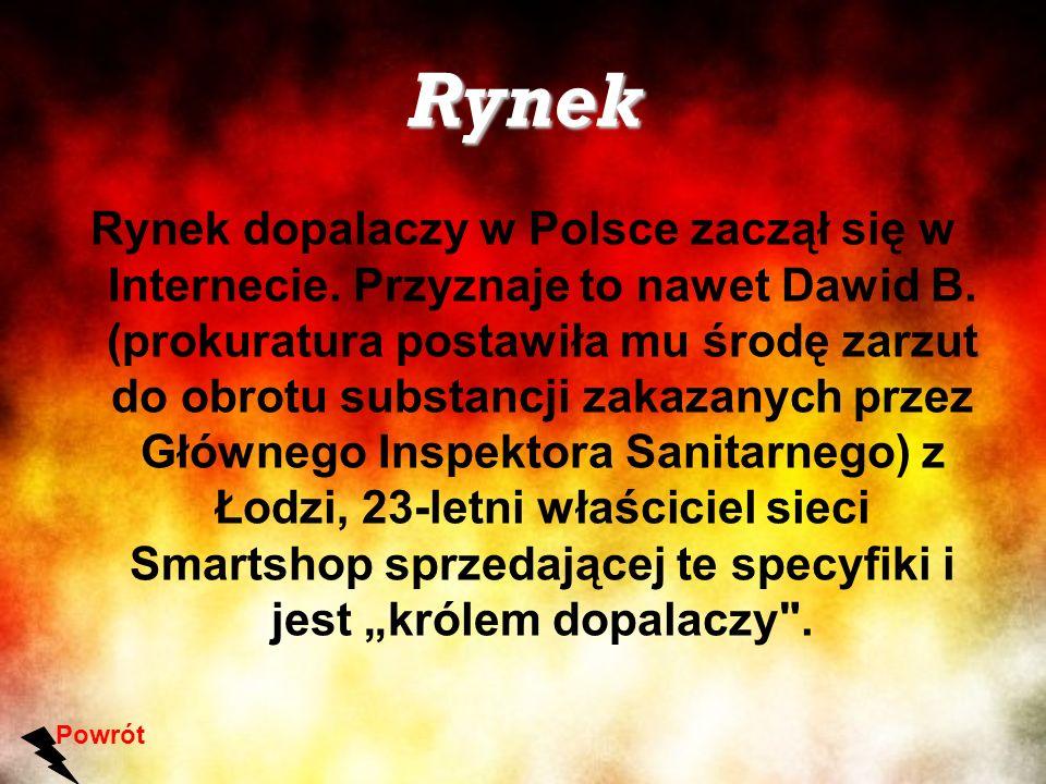 Rynek Rynek dopalaczy w Polsce zaczął się w Internecie. Przyznaje to nawet Dawid B. (prokuratura postawiła mu środę zarzut do obrotu substancji zakaza