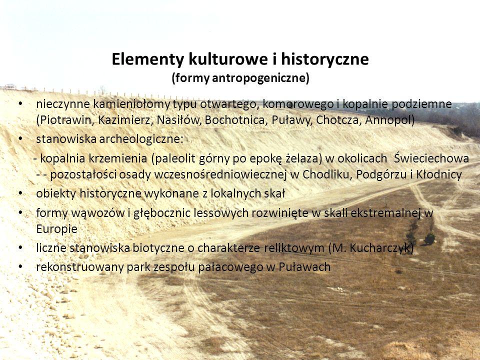 Elementy kulturowe i historyczne (formy antropogeniczne) nieczynne kamieniołomy typu otwartego, komorowego i kopalnie podziemne (Piotrawin, Kazimierz,