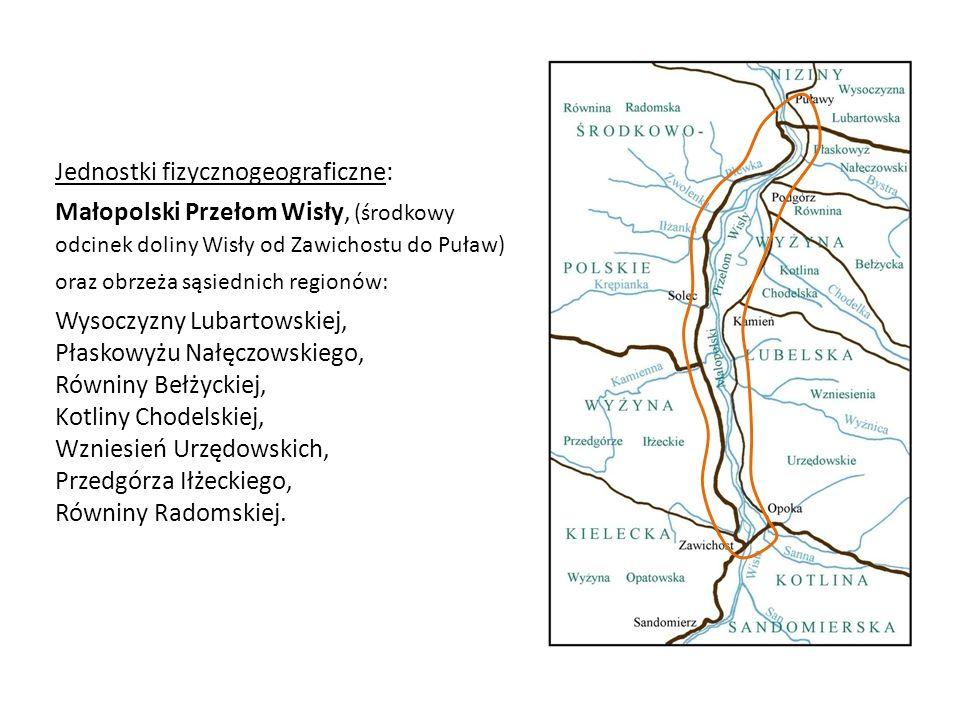 Jednostki fizycznogeograficzne: Małopolski Przełom Wisły, (środkowy odcinek doliny Wisły od Zawichostu do Puław) oraz obrzeża sąsiednich regionów: Wys