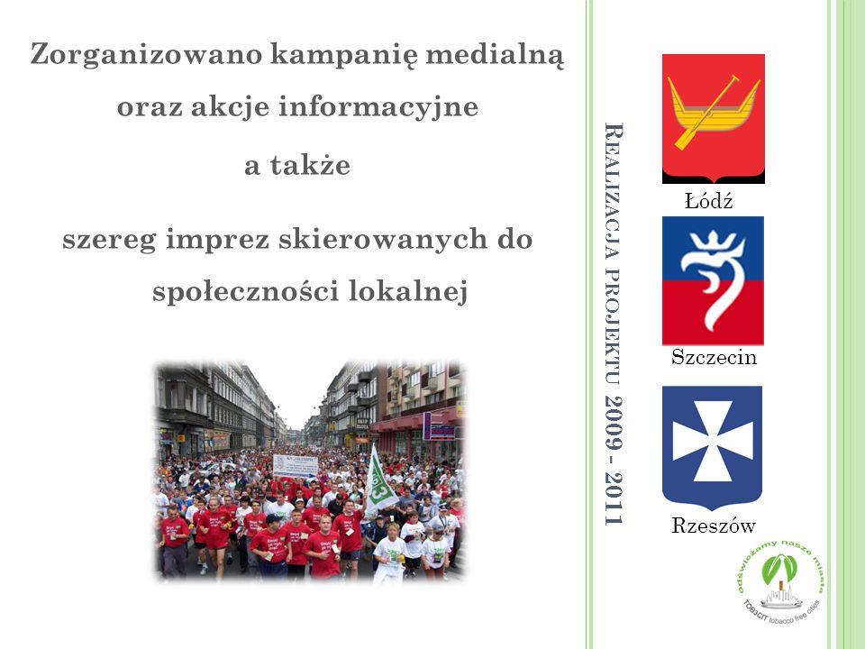 Łódź Rzeszów Szczecin Zorganizowano kampanię medialną oraz akcje informacyjne a także szereg imprez skierowanych do społeczności lokalnej R EALIZACJA