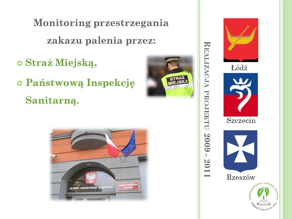 Łódź Rzeszów Szczecin Monitoring przestrzegania zakazu palenia przez: Straż Miejską, Państwową Inspekcję Sanitarną. R EALIZACJA PROJEKTU 2009 - 2011