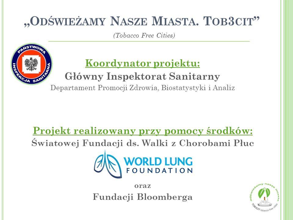 Koordynator projektu: Główny Inspektorat Sanitarny Departament Promocji Zdrowia, Biostatystyki i Analiz Projekt realizowany przy pomocy środków: Świat