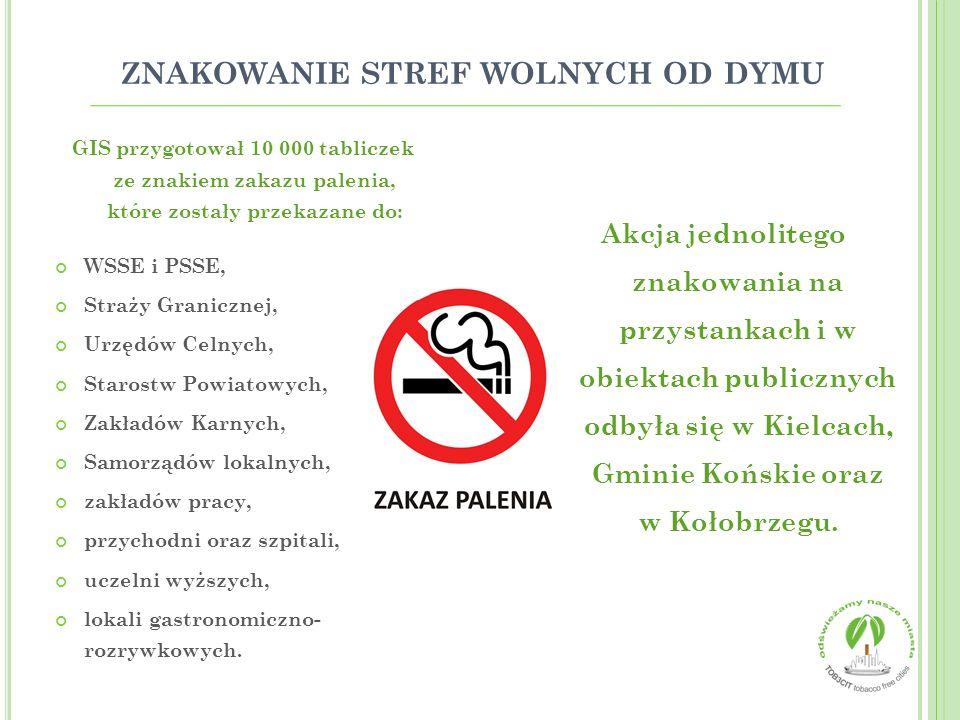 ZNAKOWANIE STREF WOLNYCH OD DYMU GIS przygotował 10 000 tabliczek ze znakiem zakazu palenia, które zostały przekazane do: WSSE i PSSE, Straży Graniczn
