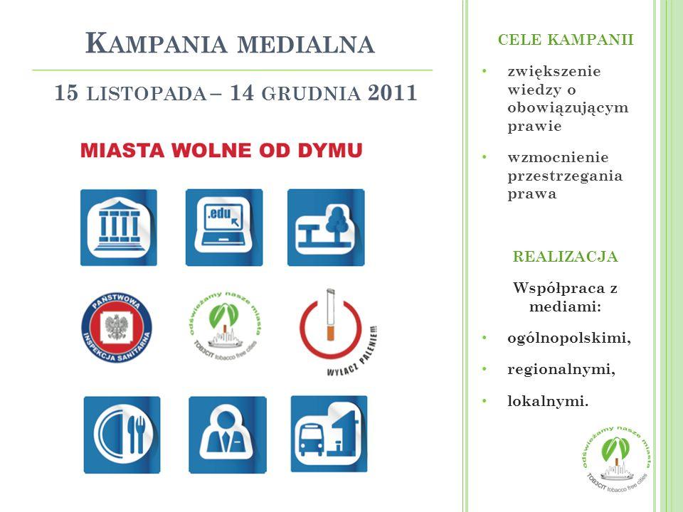 15 LISTOPADA – 14 GRUDNIA 2011 CELE KAMPANII zwiększenie wiedzy o obowiązującym prawie wzmocnienie przestrzegania prawa REALIZACJA Współpraca z mediam