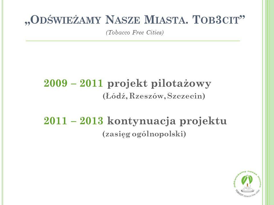 2009 – 2011 projekt pilotażowy (Łódź, Rzeszów, Szczecin) 2011 – 2013 kontynuacja projektu (zasięg ogólnopolski) O DŚWIEŻAMY N ASZE M IASTA. T OB 3 CIT