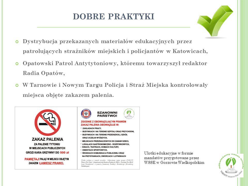 DOBRE PRAKTYKI Dystrybucja przekazanych materiałów edukacyjnych przez patrolujących strażników miejskich i policjantów w Katowicach, Opatowski Patrol